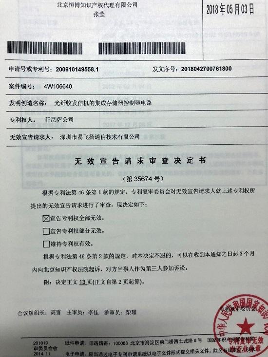 FINISAR关键专利被国家知识产权局宣告全部无效