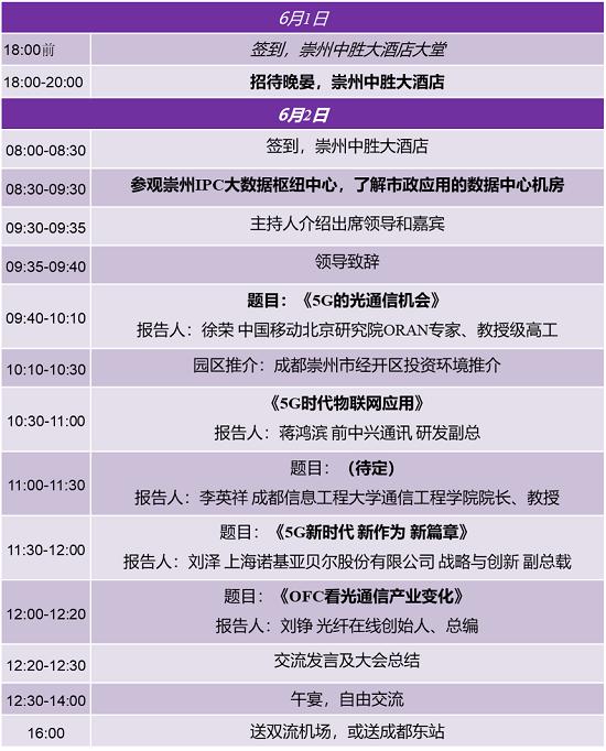 6月1-2日崇州5G光通信会议报名已截止 市政应用数据中心参观及精彩会议敬请期待