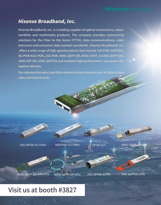 海信宽带携多款400G、5G及下一代接入网应用的高端光模块参展OFC 2019