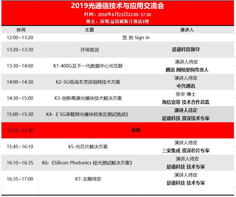 聚焦深圳 |《2019光通信技术与应用交流会》将于6月21日隆重举办