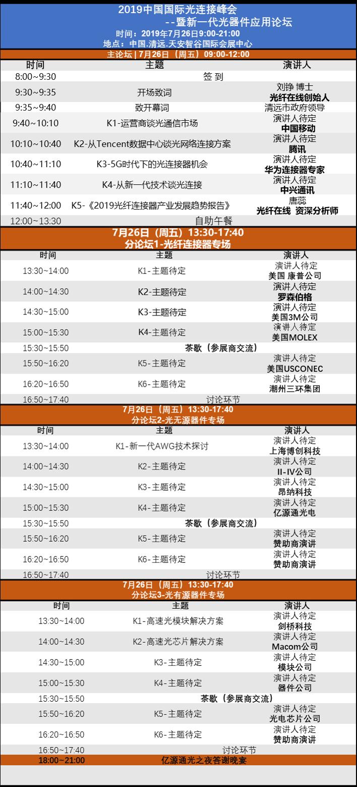 聚焦清远 | 2019中国国际光连接峰会暨新一代光器件应用论坛8月2日隆重开幕