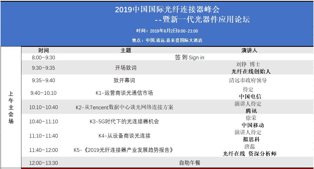 聚焦清远| 2019中国光连接峰会特色新品征集公告