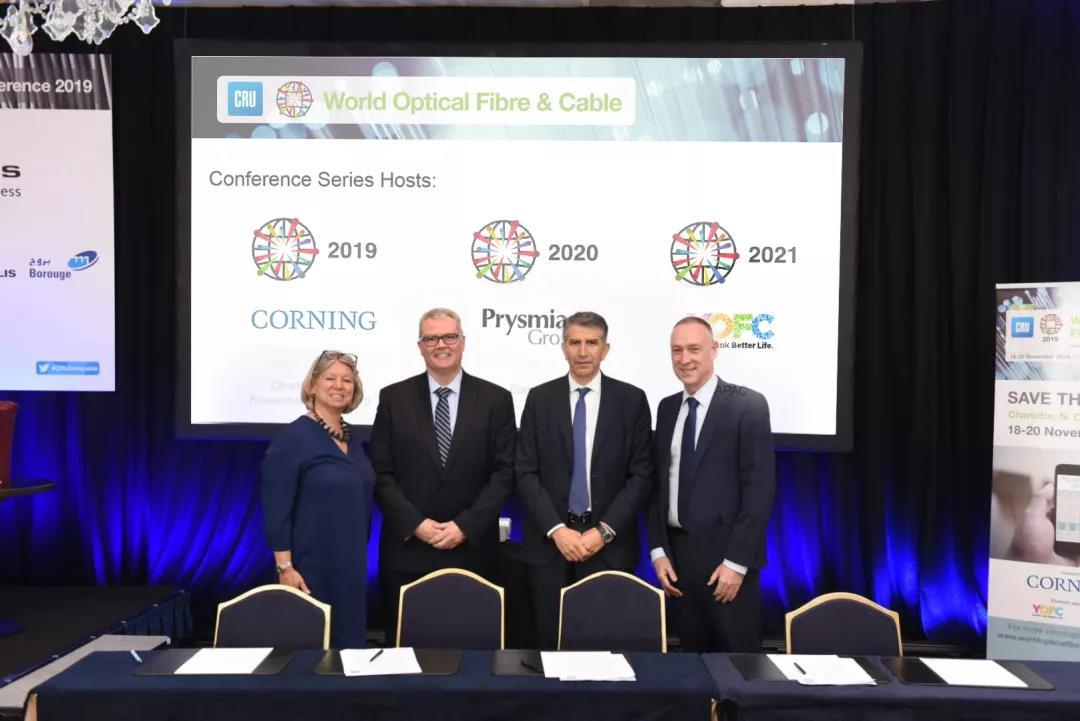 全球光纤光缆行业三大巨头企业将联合CRU依次主办2019-2021年世界光纤光缆大会
