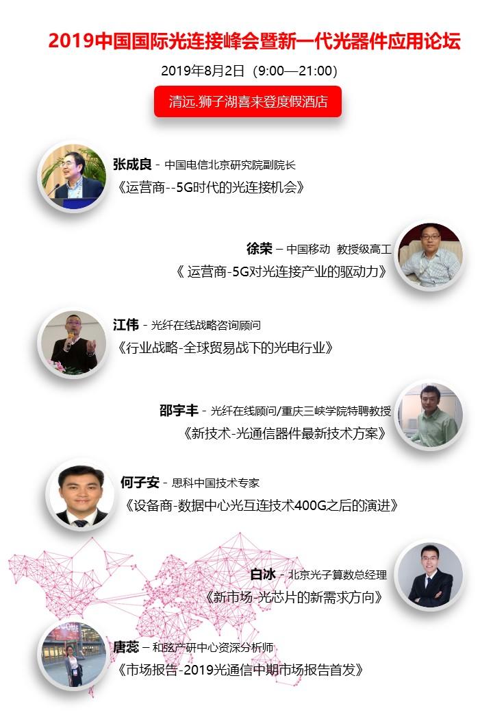 聚焦清远 | 2019中国国际光连接峰会之演讲嘉宾介绍(一)