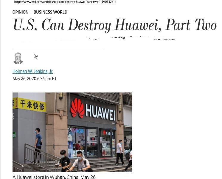 华尔街日报:美国可以毁灭华为