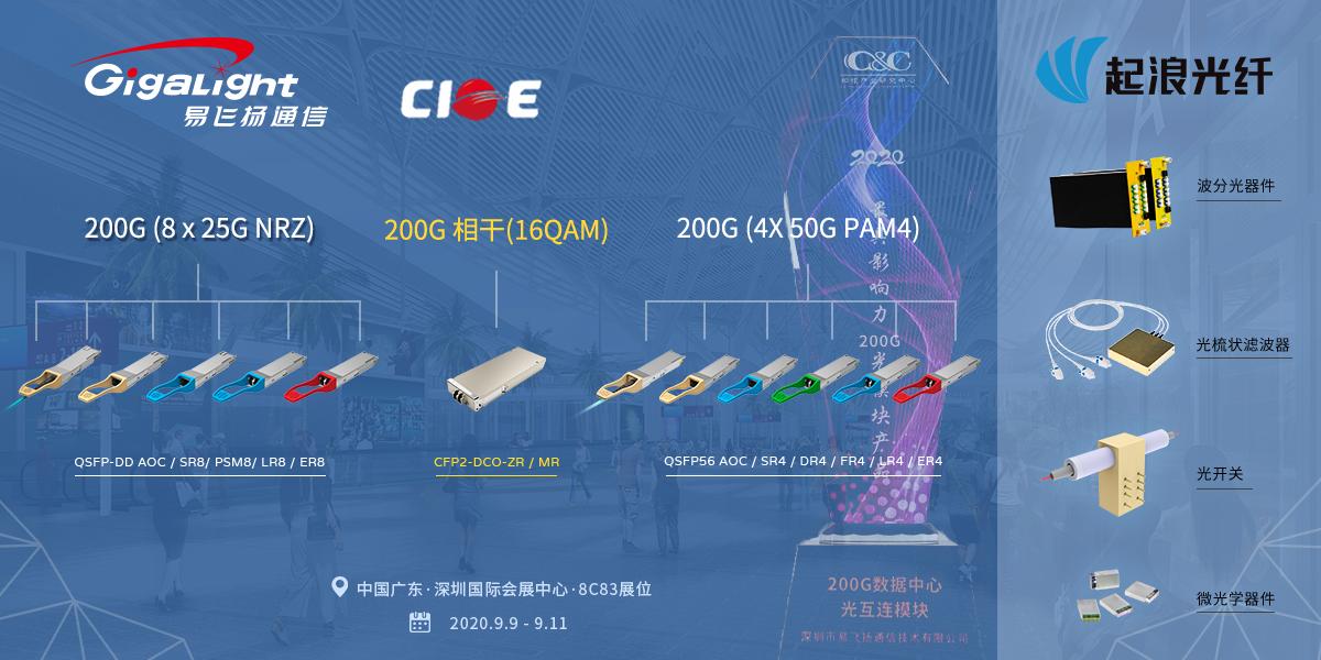 易飞扬携200G全系列产品与子公司起浪光纤联袂出展CIOE 2020